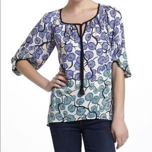 Anthro Blue & Green Floral Tassel Tie Front Blouse